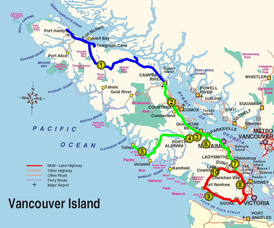 Vancouver Island Roads Map